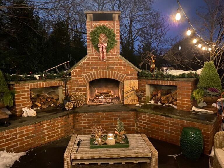 Outdoor Winter Fireplace